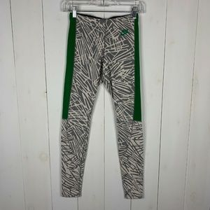 Nike Gray White Green Just Do It Leggings M
